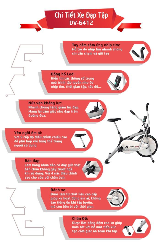Chi tiết xe đạp tập DV-6412