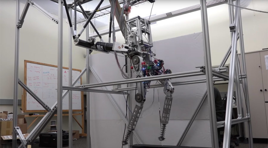 Robot tập luyện trên máy chạy bộ