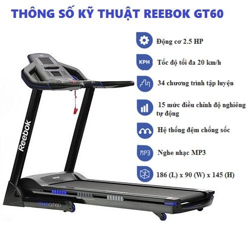 Thông số máy chạy bộ điện Reebok GT60