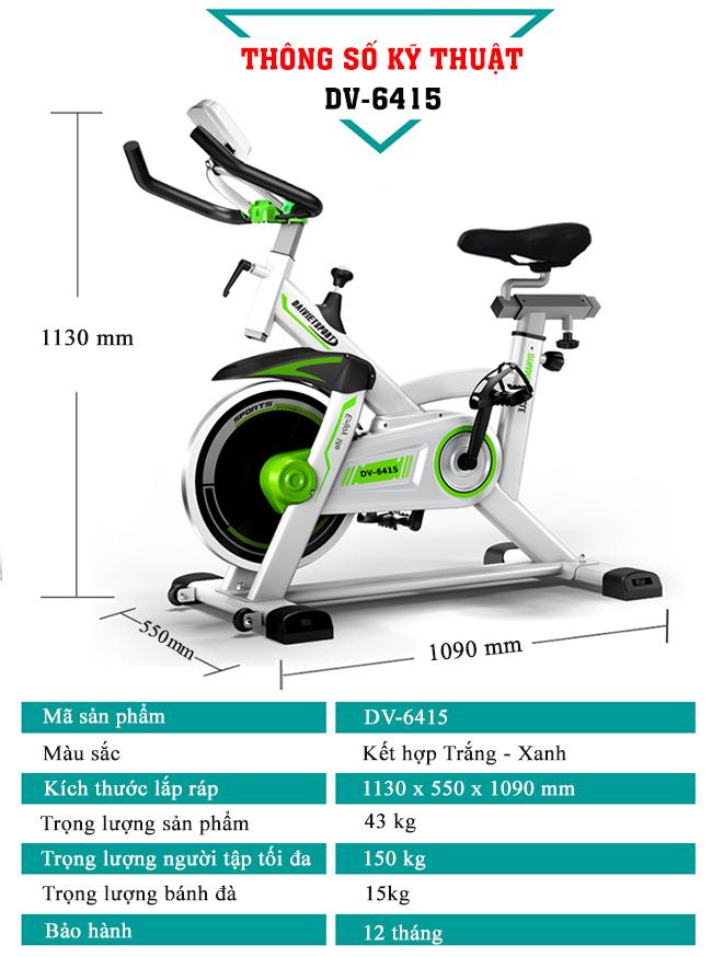 thông số xe đạp tập thể thao Đại Việt DV-6415